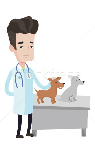 Veterinarian examining dogs vector illustration. Stock photo © RAStudio