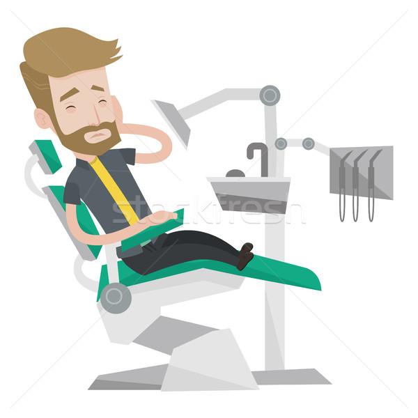 Stock fotó: Férfi · szenvedés · fogászati · szék · fiatal · kaukázusi