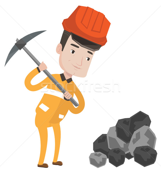 Miner working with pickaxe vector illustration. Stock photo © RAStudio
