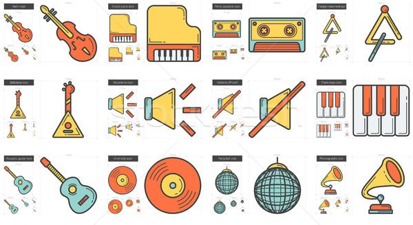 Zene vonal ikon gyűjtemény vektor izolált fehér Stock fotó © RAStudio