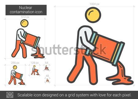 Nucleaire lijn icon vector geïsoleerd witte Stockfoto © RAStudio