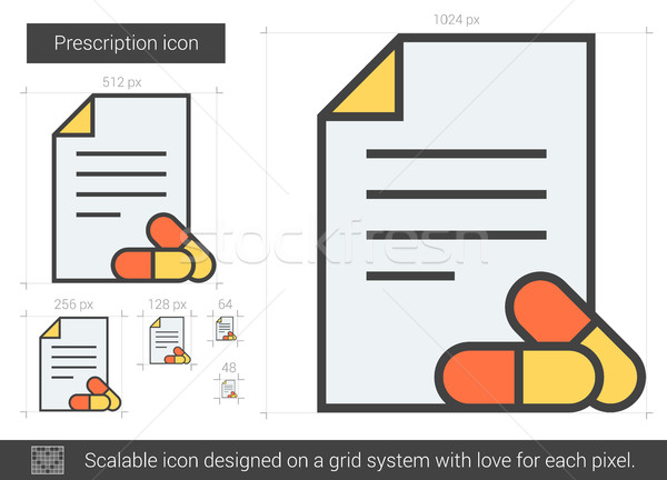 Prescripción línea icono vector aislado blanco Foto stock © RAStudio