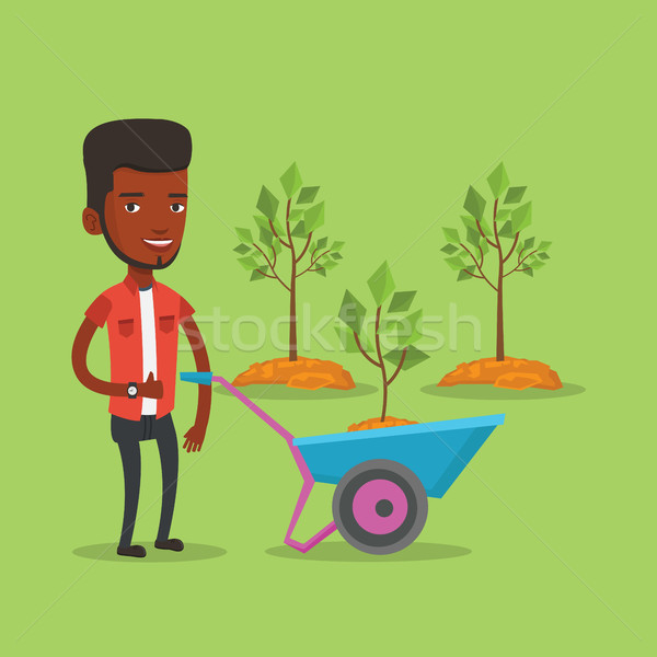 Man voortvarend kruiwagen plant jonge tuinman Stockfoto © RAStudio