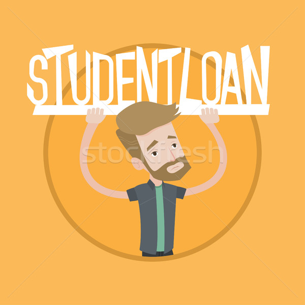 Jonge man teken student lening Stockfoto © RAStudio