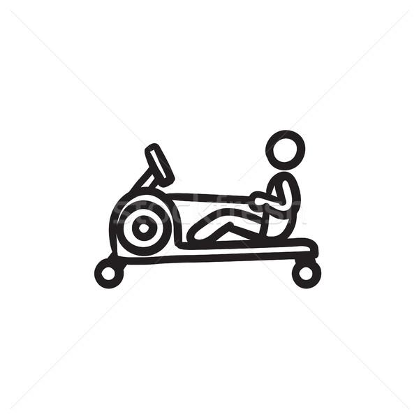 Férfi testmozgás tornaterem rajz ikon apparátus Stock fotó © RAStudio