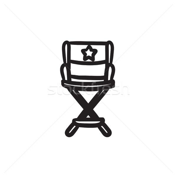 Yönetmen sandalye kroki ikon vektör yalıtılmış Stok fotoğraf © RAStudio