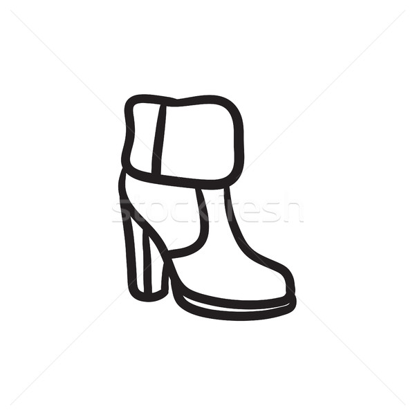 Enkel boot bont schets icon vector Stockfoto © RAStudio