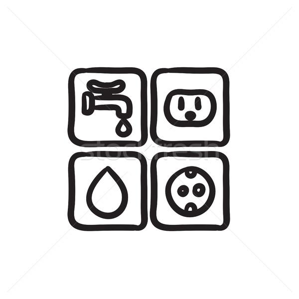Znaki elektrycznej wody szkic ikona wektora Zdjęcia stock © RAStudio
