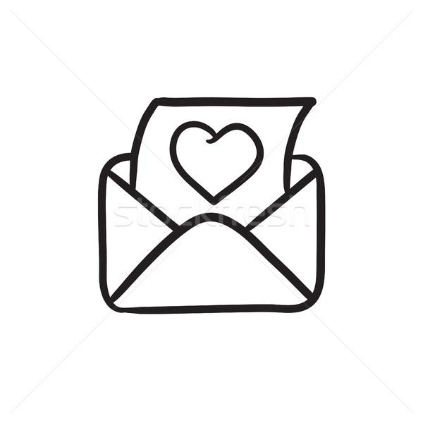 Foto stock: Envelope · e-mail · coração · esboço · ícone · vetor
