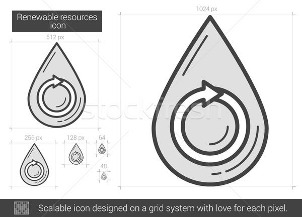 Megújuló erőforrások vonal ikon vektor izolált Stock fotó © RAStudio