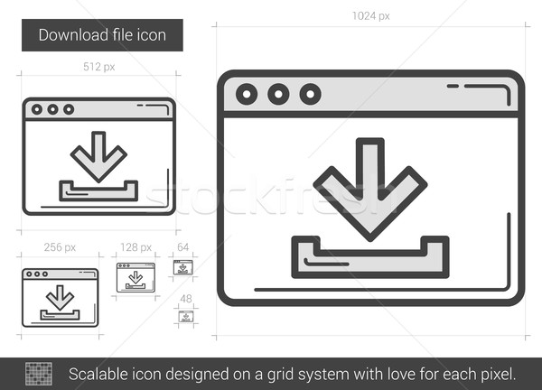 Download file line icon. Stock photo © RAStudio