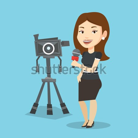 телевизор репортер микрофона камеры азиатских Постоянный Сток-фото © RAStudio