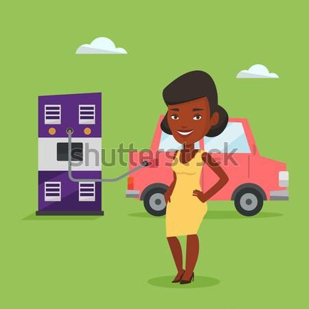 станция женщину Постоянный источник питания Сток-фото © RAStudio