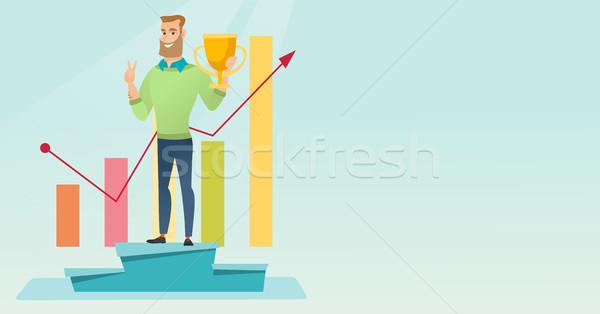 üzletember büszke üzlet díj boldog kaukázusi Stock fotó © RAStudio