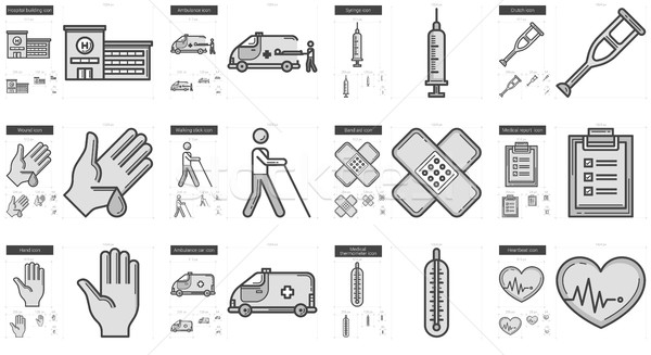 Stock photo: Medicine line icon set.