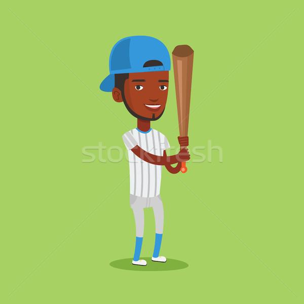 Jogador de beisebol bat sorridente uniforme profissional Foto stock © RAStudio