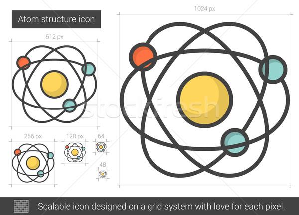 átomo estructura línea icono vector aislado Foto stock © RAStudio