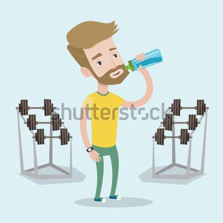 Sportive man drinking water vector illustration. Stock photo © RAStudio