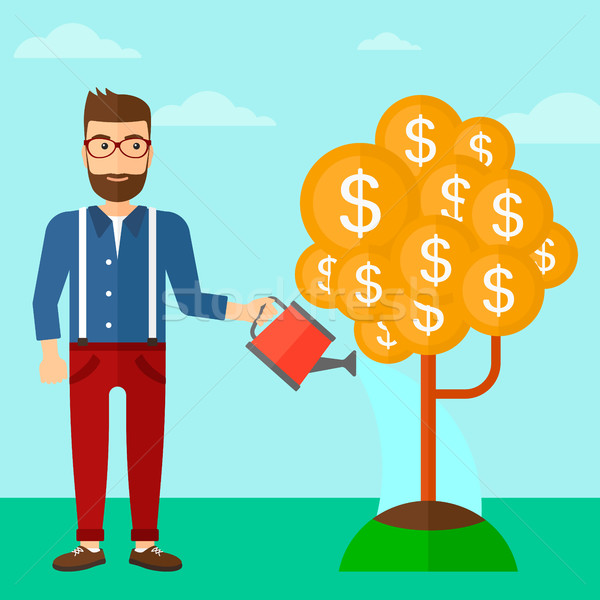 Férfi locsol pénzfa hipszter szakáll elvesz Stock fotó © RAStudio