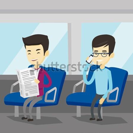 Mensen openbaar vervoer asian man lezing Stockfoto © RAStudio
