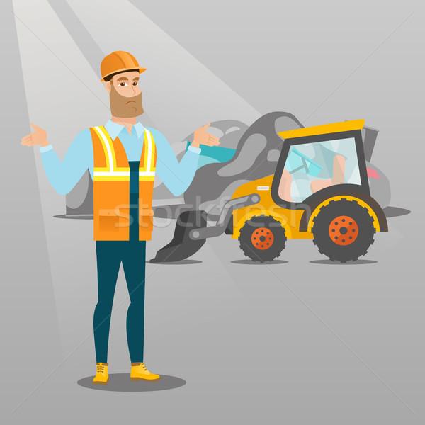 Trabajador excavadora basura pie armas hombre Foto stock © RAStudio