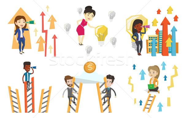 ベクトル セット ビジネス 2 ビジネスマン ストックフォト © RAStudio