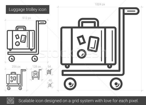 Luggage trolley line icon. Stock photo © RAStudio