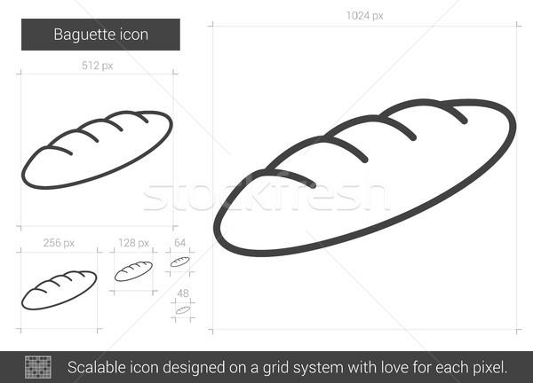 Baguette lijn icon vector geïsoleerd witte Stockfoto © RAStudio