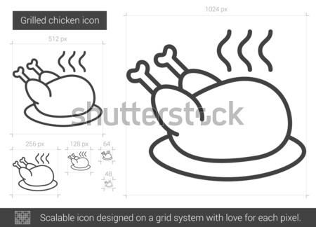 ストックフォト: 鶏 · 行 · アイコン · ベクトル · 孤立した