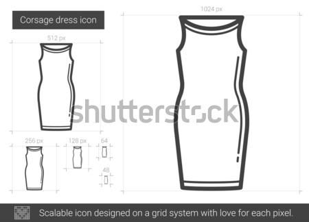 Foto stock: Vestido · línea · icono · vector · aislado · blanco
