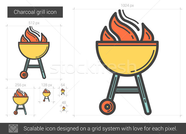 Charcoal grill line icon. Stock photo © RAStudio