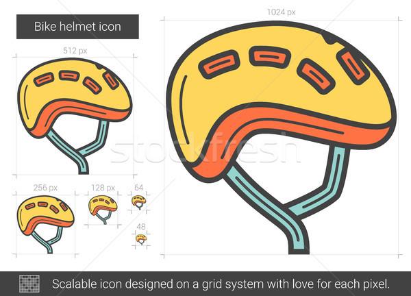 Stock photo: Bike helmet line icon.