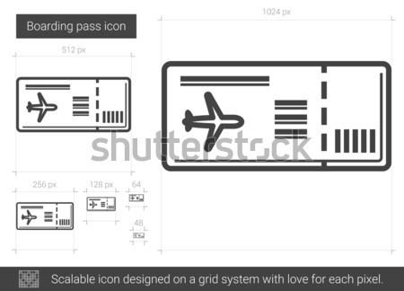 Beszállás passz vonal ikon vektor izolált Stock fotó © RAStudio