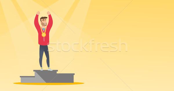 Kaukasisch vieren winnaars podium jonge Stockfoto © RAStudio