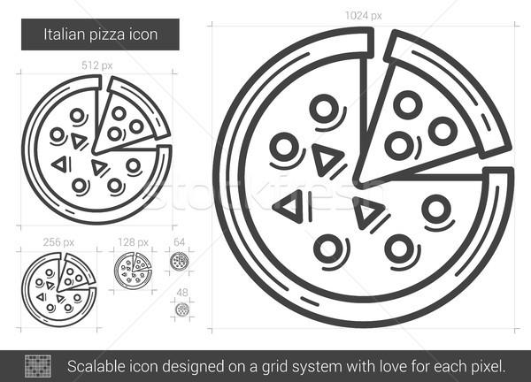 Italiana pizza line icona vettore isolato Foto d'archivio © RAStudio