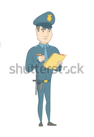 Young policeman in uniform writing on clipboard. Stock photo © RAStudio