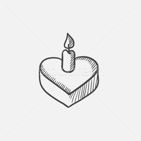 Bolo vela esboço ícone teia móvel Foto stock © RAStudio