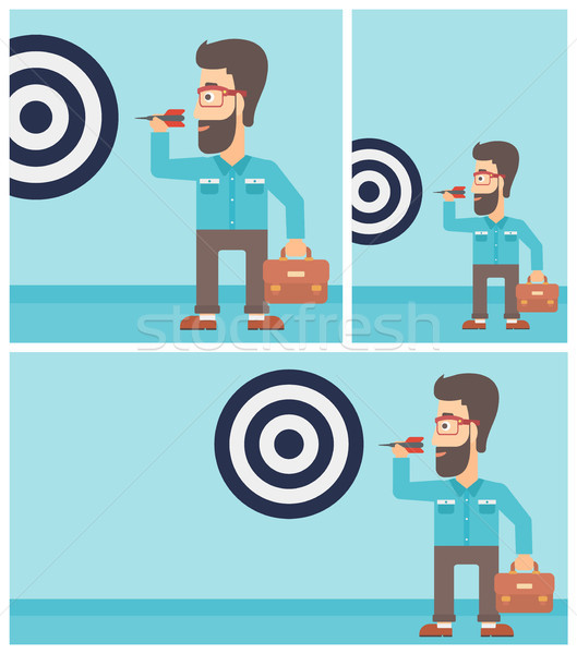 Businessman and target board vector illustration. Stock photo © RAStudio