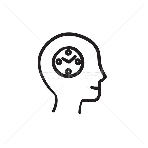 Human head with clock sketch icon. Stock photo © RAStudio