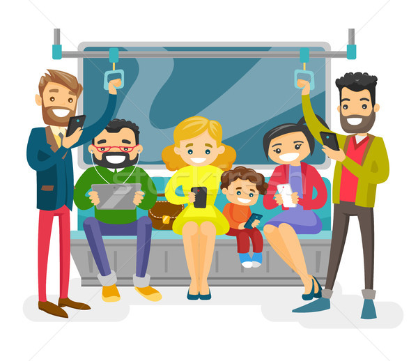 Stockfoto: Kaukasisch · mensen · openbaar · vervoer · witte · mensen · smartphones