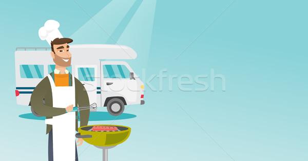Fiatalember kerti grillezés hús lakókocsi furgon fiatal Stock fotó © RAStudio
