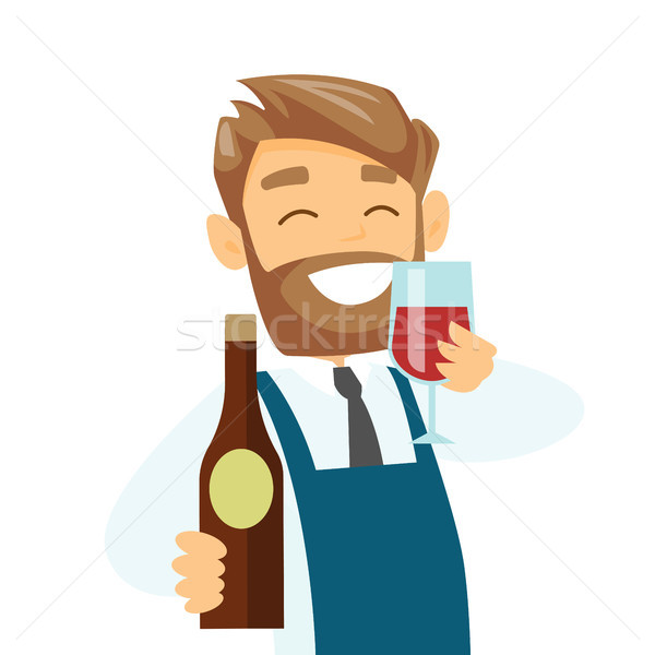 Caucasian waiter holding glass and bottle of wine. Stock photo © RAStudio