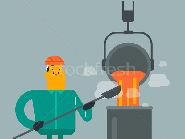Steelworker in hard hat at work near the furnace. Stock photo © RAStudio