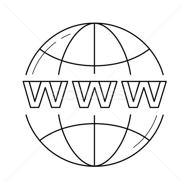 домен линия икона вектора изолированный белый Сток-фото © RAStudio