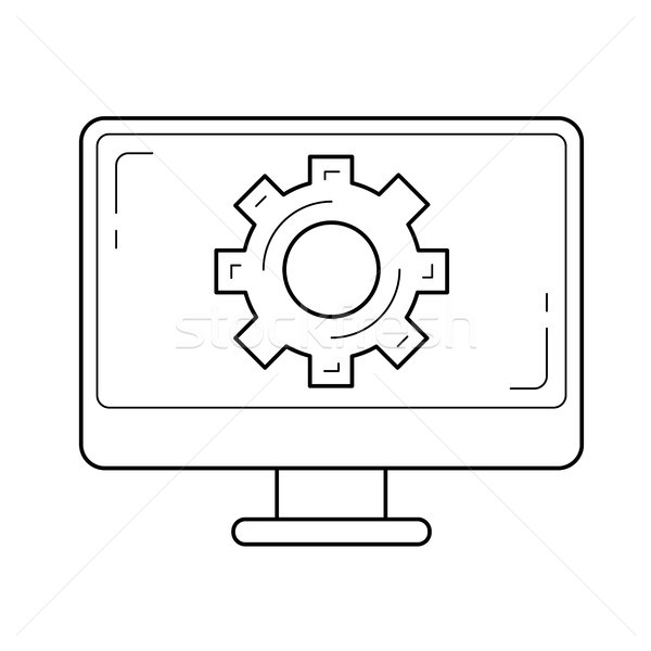 Software apoyo línea icono vector aislado Foto stock © RAStudio