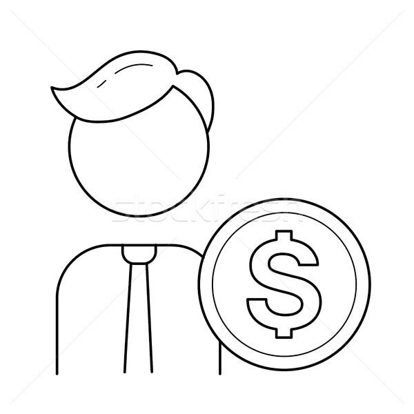 бизнесмен круга монеты вектора линия икона Сток-фото © RAStudio