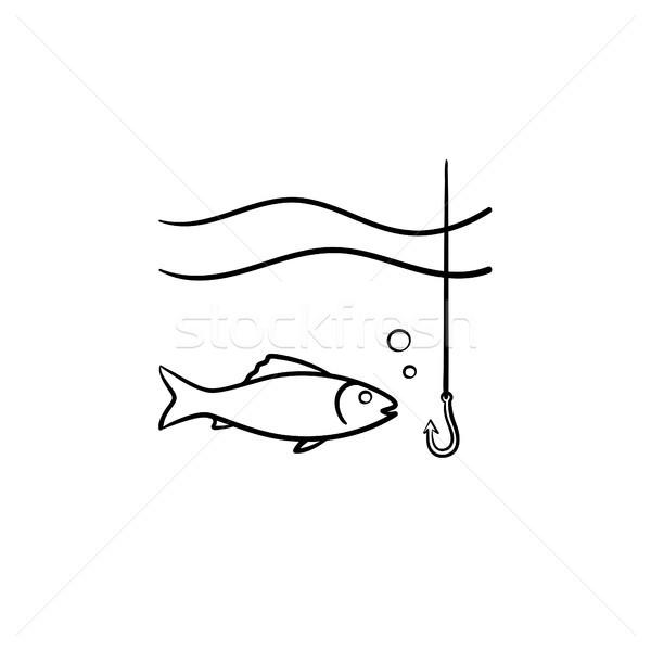 Pesce gancio sketch icona contorno Foto d'archivio © RAStudio