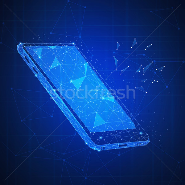 Polygon 3d smartphone on blockchain hud banner. Stock photo © RAStudio