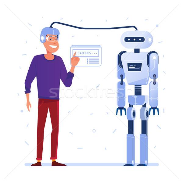 Datos transferir cerebro humano robot hombre casco Foto stock © RAStudio