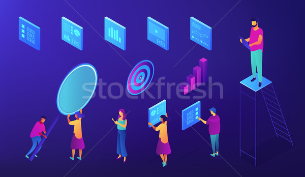 IT team SEO experts isometric set. Stock photo © RAStudio